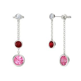 Round Ruby 14K White Gold Earring with Pink Tourmaline and Diamond