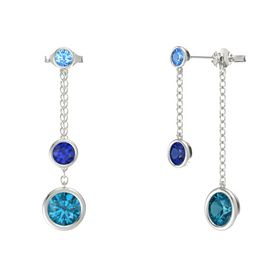 Round Sapphire 14K White Gold Earrings with London Blue Topaz & Blue Topaz