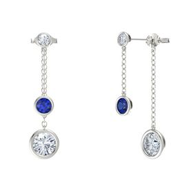 Round Blue Sapphire 14K White Gold Earring with Moissanite and Diamond