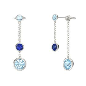 Round Sapphire 14K White Gold Earrings with Aquamarine