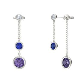 Round Sapphire 14K White Gold Earrings with Iolite & Diamond