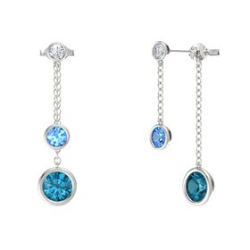 Round Blue Topaz 14K White Gold Earrings with London Blue Topaz & Diamond