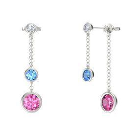 Round Blue Topaz 14K White Gold Earring with Pink Sapphire and Diamond