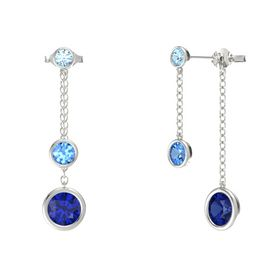 Round Blue Topaz 14K White Gold Earrings with Sapphire & Aquamarine