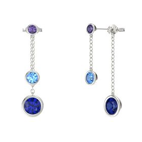 Round Blue Topaz 14K White Gold Earrings with Sapphire & Iolite