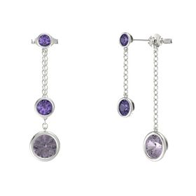 Round Iolite 14K White Gold Earrings with Rose de France & Iolite