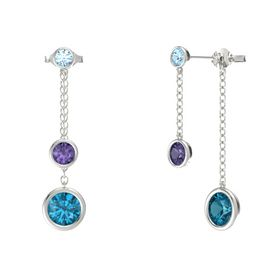 Round Iolite 14K White Gold Earrings with London Blue Topaz & Aquamarine