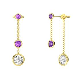 Round Amethyst 14K Yellow Gold Earrings with White Sapphire & Amethyst