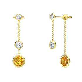 Round Diamond 14K Yellow Gold Earring with Citrine and Diamond