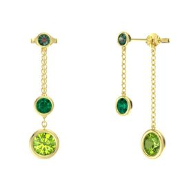 Round Emerald 14K Yellow Gold Earring with Peridot and Alexandrite