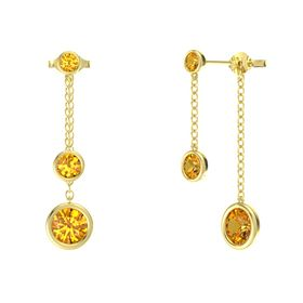 Round Citrine 14K Yellow Gold Earrings with Citrine