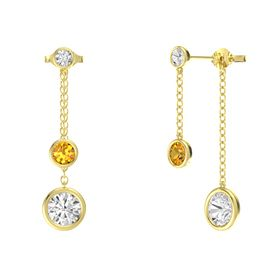 Round Citrine 14K Yellow Gold Earrings with White Sapphire