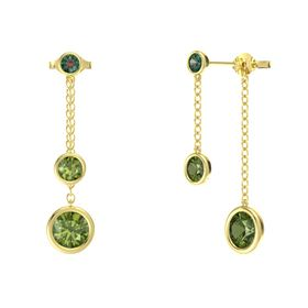 Round Green Tourmaline 14K Yellow Gold Earring with Green Tourmaline and Alexandrite