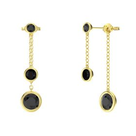 Round Black Onyx 14K Yellow Gold Earring with Black Diamond