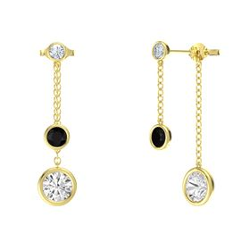 Round Black Onyx 14K Yellow Gold Earring with White Sapphire and Diamond