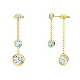 Round Aquamarine 14K Yellow Gold Earring with White Sapphire and Diamond