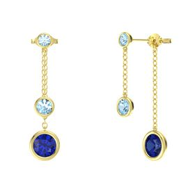 Round Aquamarine 14K Yellow Gold Earring with Blue Sapphire and Aquamarine