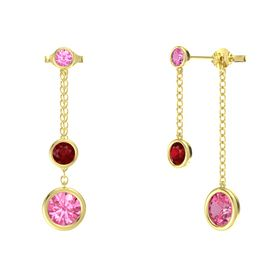 Round Ruby 14K Yellow Gold Earring with Pink Tourmaline