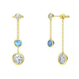 Round Blue Topaz 14K Yellow Gold Earring with Moissanite and Diamond