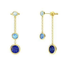 Round Blue Topaz 14K Yellow Gold Earrings with Sapphire & Aquamarine