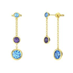 Round Iolite 14K Yellow Gold Earring with Blue Topaz