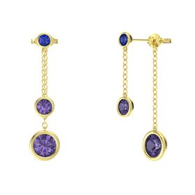 Round Iolite 14K Yellow Gold Earring with Iolite and Blue Sapphire