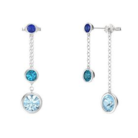 Round London Blue Topaz Sterling Silver Earring with Aquamarine and Blue Sapphire