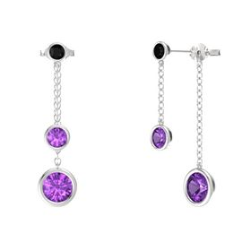 Round Amethyst Sterling Silver Earrings with Amethyst & Black Onyx