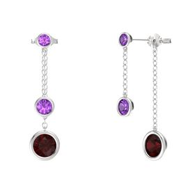 Round Amethyst Sterling Silver Earring with Red Garnet and Amethyst