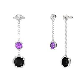 Round Amethyst Sterling Silver Earrings with Black Onyx & White Sapphire