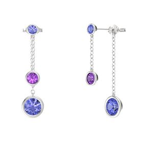 Round Amethyst Sterling Silver Earring with Tanzanite