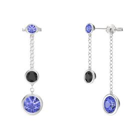 Round Black Diamond Sterling Silver Earring with Tanzanite