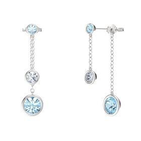 Round Diamond Sterling Silver Earrings with Aquamarine