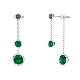 Round Emerald Sterling Silver Earring with Emerald and Alexandrite