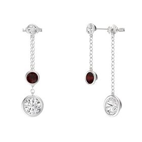 Round Red Garnet Sterling Silver Earrings with White Sapphire