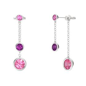 Round Rhodolite Garnet Sterling Silver Earrings with Pink Tourmaline & Pink Sapphire