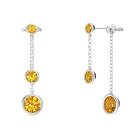 Round Citrine Sterling Silver Earrings with Citrine