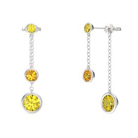 Round Citrine Sterling Silver Earrings with Yellow Sapphire