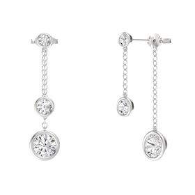 Round White Sapphire Sterling Silver Earrings with White Sapphire