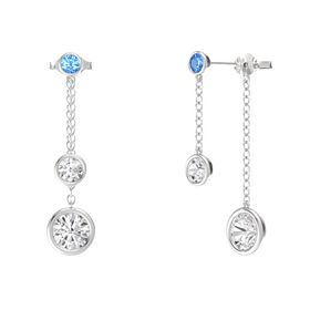 Round White Sapphire Sterling Silver Earring with White Sapphire and Blue Topaz