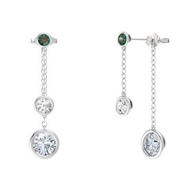 Round White Sapphire Sterling Silver Earring with Moissanite and Alexandrite