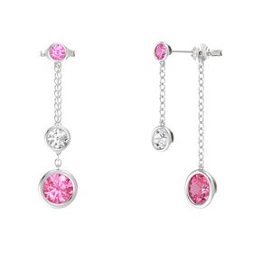 Round White Sapphire Sterling Silver Earring with Pink Tourmaline