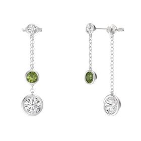 Round Green Tourmaline Sterling Silver Earring with White Sapphire