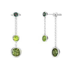 Round Peridot Sterling Silver Earring with Green Tourmaline and Alexandrite