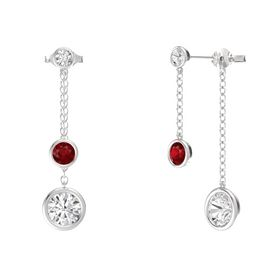 Round Ruby Sterling Silver Earrings with White Sapphire