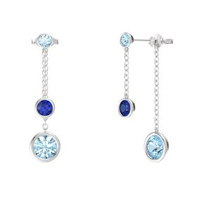 Round Sapphire Sterling Silver Earrings with Aquamarine