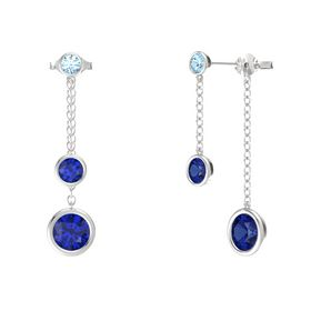 Round Blue Sapphire Sterling Silver Earring with Blue Sapphire and Aquamarine