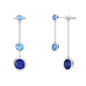 Round Blue Topaz Sterling Silver Earrings with Sapphire & Blue Topaz