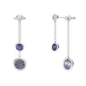 Round Iolite Sterling Silver Earrings with Rose de France & Diamond