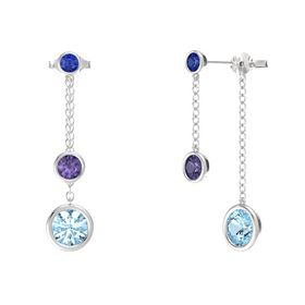 Round Iolite Sterling Silver Earring with Aquamarine and Blue Sapphire